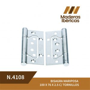 BISAGRA MARIPOSA 100 X 76 X 2.5 C/ TORNILLOS