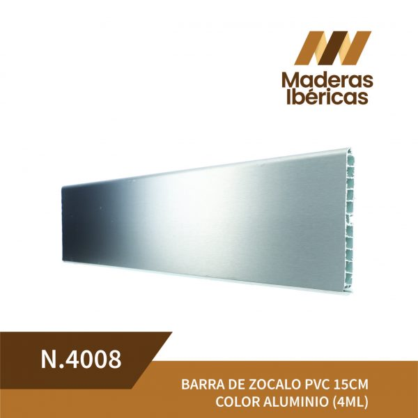 BARRA DE ZOCALO PVC 15CM COLOR ALUMINIO (4ML)